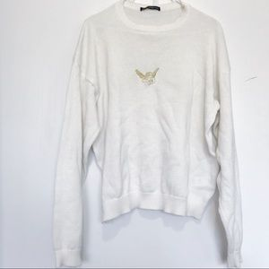 Brandy Melville cream gold angel knit sweater